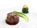 Grilled US Creekstone Beef Tenderloin with Green Pea Puree