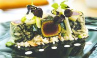 Nori-Crusted Ahi Tuna with Chanterelle Risotto and Girolle Butter