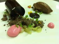 Chocolate with Textures of Licorice and Anise with Grapefruit Coulis
