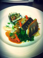 Crispy spiced Sea Bass with Duo Oysters