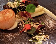 Orkney Scallop, Black Pudding, White Asparagus, Toasted Seeds & Crab Apple Cress