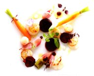 Pan-fried French Scallop with pink & white beetroot & lemon jelly