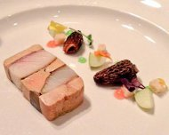 Terrine of Quebec foie gras and pine smoked sturgeon; morels